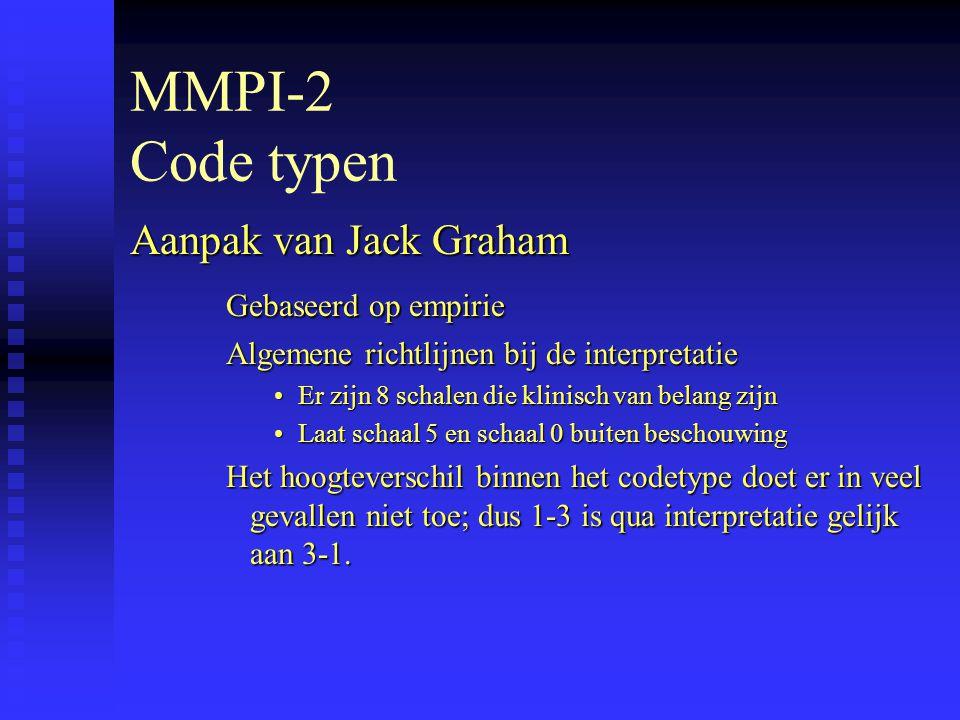 MMPI-2 Code typen Aanpak van Jack Graham Gebaseerd op empirie Algemene richtlijnen bij de interpretatie Er zijn 8 schalen die klinisch van belang zijnEr zijn 8 schalen die klinisch van belang zijn Laat schaal 5 en schaal 0 buiten beschouwingLaat schaal 5 en schaal 0 buiten beschouwing Het hoogteverschil binnen het codetype doet er in veel gevallen niet toe; dus 1-3 is qua interpretatie gelijk aan 3-1.