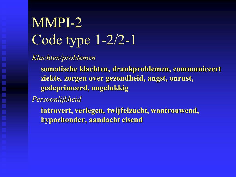 MMPI-2 Code type 1-2/2-1 Klachten/problemen somatische klachten, drankproblemen, communiceert ziekte, zorgen over gezondheid, angst, onrust, gedeprimeerd, ongelukkig Persoonlijkheid introvert, verlegen, twijfelzucht, wantrouwend, hypochonder, aandacht eisend