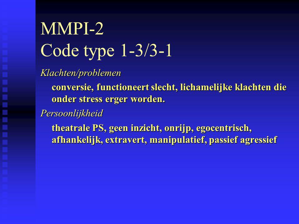 MMPI-2 Code type 1-3/3-1 Klachten/problemen conversie, functioneert slecht, lichamelijke klachten die onder stress erger worden.