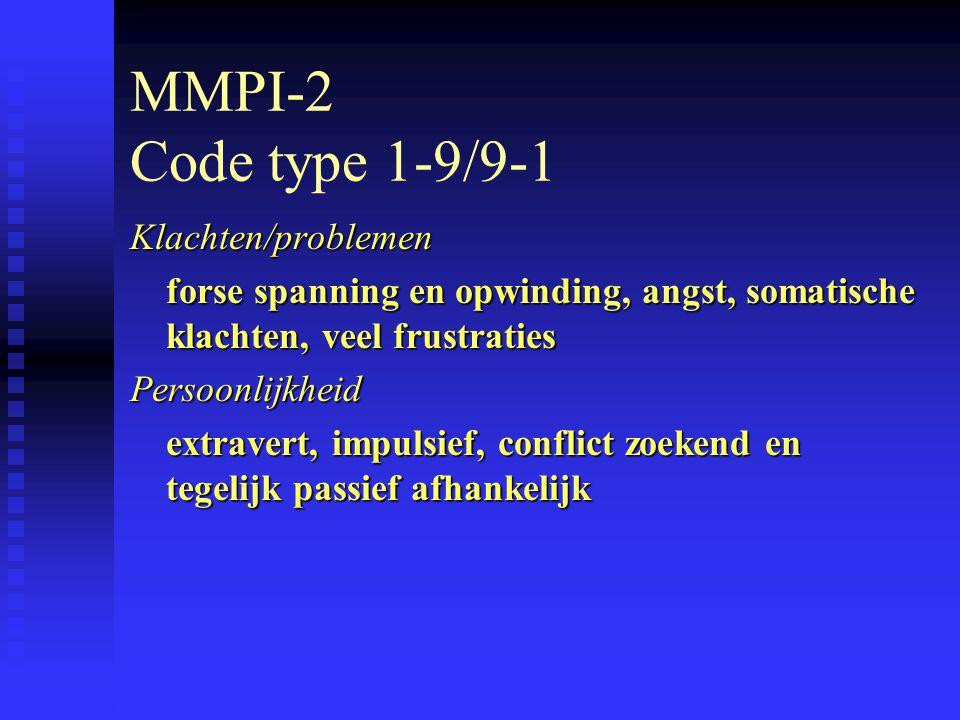 MMPI-2 Code type 1-9/9-1 Klachten/problemen forse spanning en opwinding, angst, somatische klachten, veel frustraties Persoonlijkheid extravert, impulsief, conflict zoekend en tegelijk passief afhankelijk