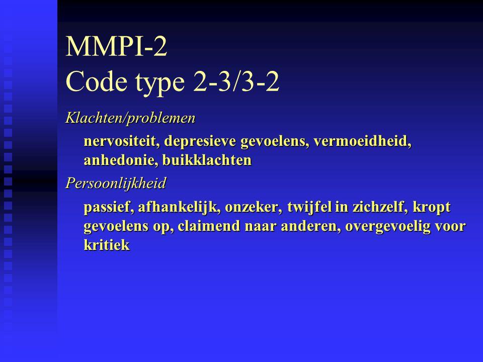MMPI-2 Code type 2-3/3-2 Klachten/problemen nervositeit, depresieve gevoelens, vermoeidheid, anhedonie, buikklachten Persoonlijkheid passief, afhankelijk, onzeker, twijfel in zichzelf, kropt gevoelens op, claimend naar anderen, overgevoelig voor kritiek