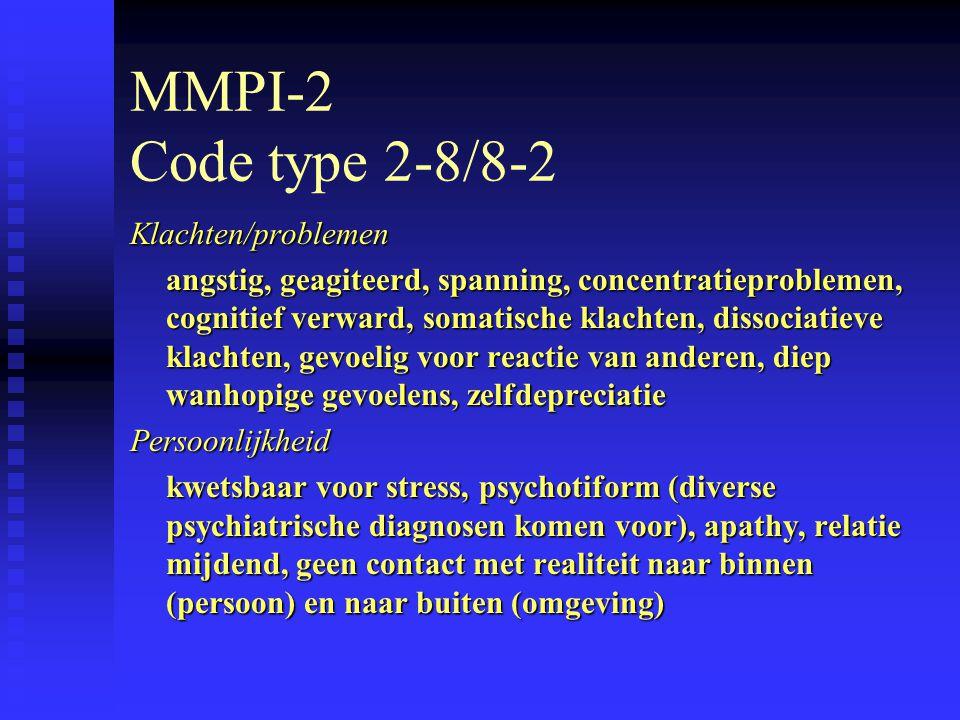 MMPI-2 Code type 2-8/8-2 Klachten/problemen angstig, geagiteerd, spanning, concentratieproblemen, cognitief verward, somatische klachten, dissociatieve klachten, gevoelig voor reactie van anderen, diep wanhopige gevoelens, zelfdepreciatie Persoonlijkheid kwetsbaar voor stress, psychotiform (diverse psychiatrische diagnosen komen voor), apathy, relatie mijdend, geen contact met realiteit naar binnen (persoon) en naar buiten (omgeving)