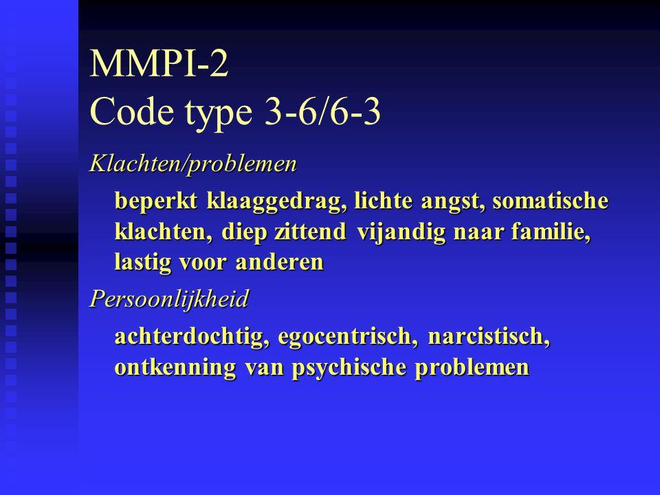 MMPI-2 Code type 3-6/6-3 Klachten/problemen beperkt klaaggedrag, lichte angst, somatische klachten, diep zittend vijandig naar familie, lastig voor anderen Persoonlijkheid achterdochtig, egocentrisch, narcistisch, ontkenning van psychische problemen