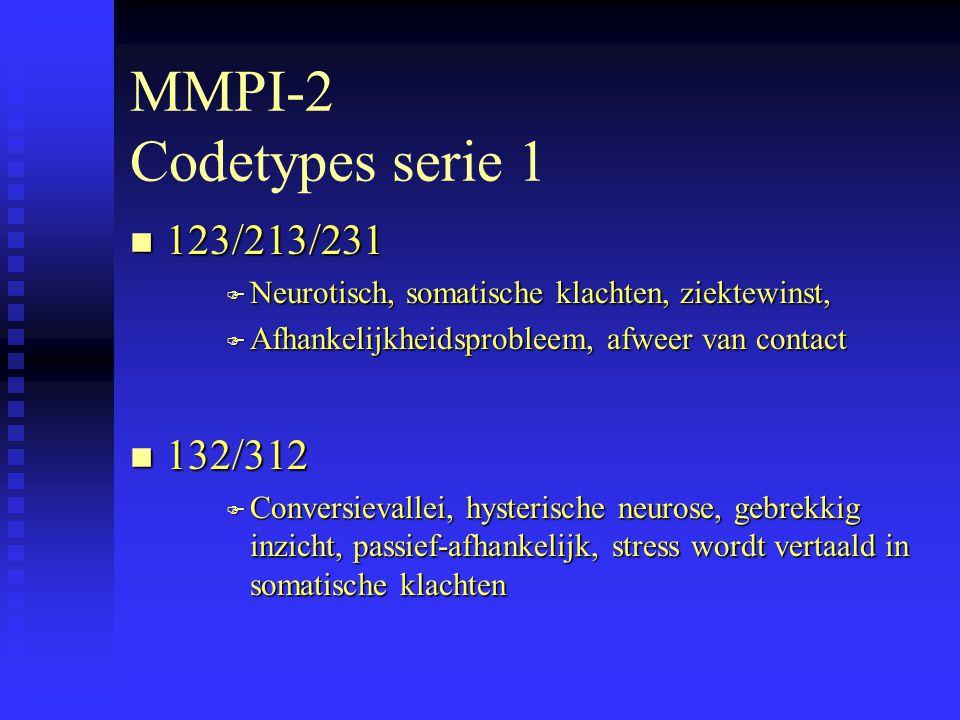 MMPI-2 Codetypes serie 1 n 123/213/231 F Neurotisch, somatische klachten, ziektewinst, F Afhankelijkheidsprobleem, afweer van contact n 132/312 F Conversievallei, hysterische neurose, gebrekkig inzicht, passief-afhankelijk, stress wordt vertaald in somatische klachten