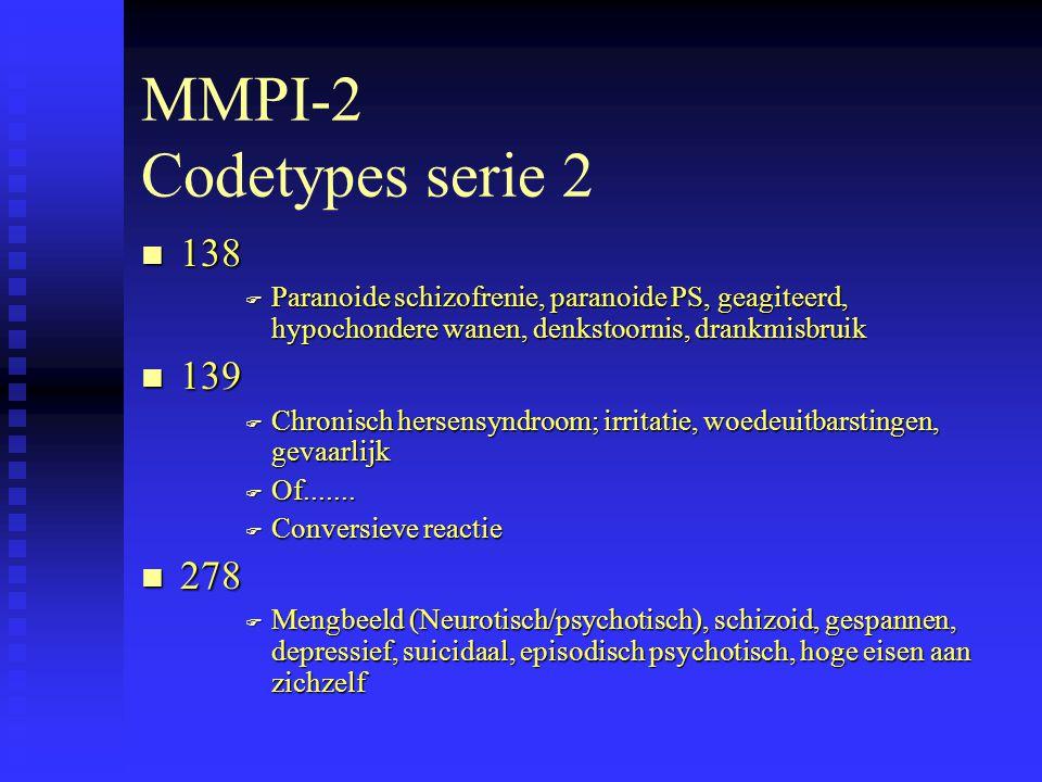MMPI-2 Codetypes serie 2 n 138 F Paranoide schizofrenie, paranoide PS, geagiteerd, hypochondere wanen, denkstoornis, drankmisbruik n 139 F Chronisch hersensyndroom; irritatie, woedeuitbarstingen, gevaarlijk F Of.......
