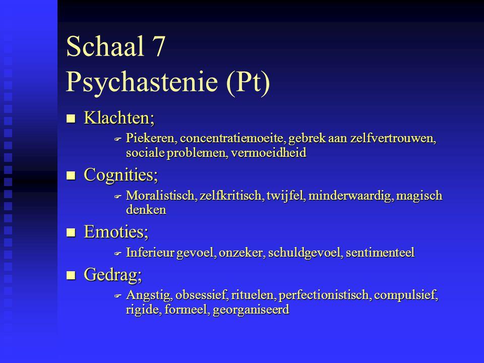 Schaal 8 Schizofrenie (Sc) n Klachten; F Angst, paniek, verwardheid, alienatie, sexuele problemen, hallucinaties, impulsiviteit n Cognities; F Vreemd, ontoegankelijk, gebrek aan realiteitzin n Emoties; F Angst, eenzaamheid, verstoten gevoel, depersonalisatie, impulsief woedend n Gedrag; F Vreemd, excentriek, koppig, onrijp, bizar, schizoide