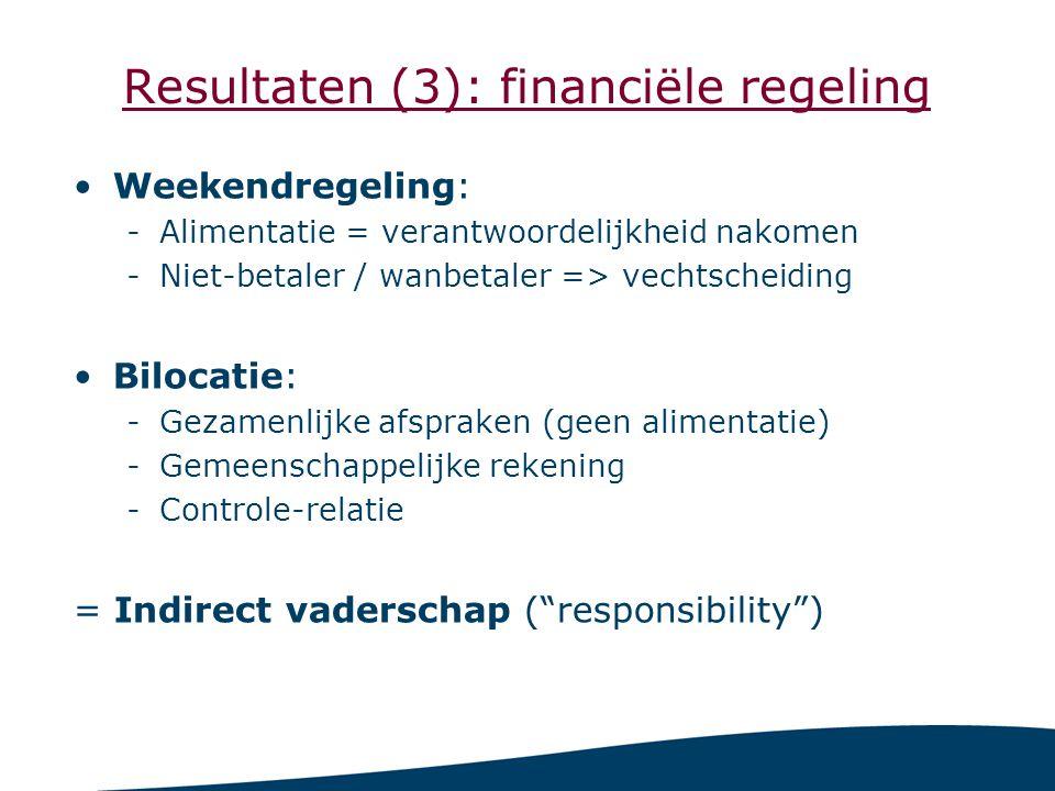 Resultaten (3): financiële regeling Weekendregeling: -Alimentatie = verantwoordelijkheid nakomen -Niet-betaler / wanbetaler => vechtscheiding Bilocatie: -Gezamenlijke afspraken (geen alimentatie) -Gemeenschappelijke rekening -Controle-relatie = Indirect vaderschap ( responsibility )
