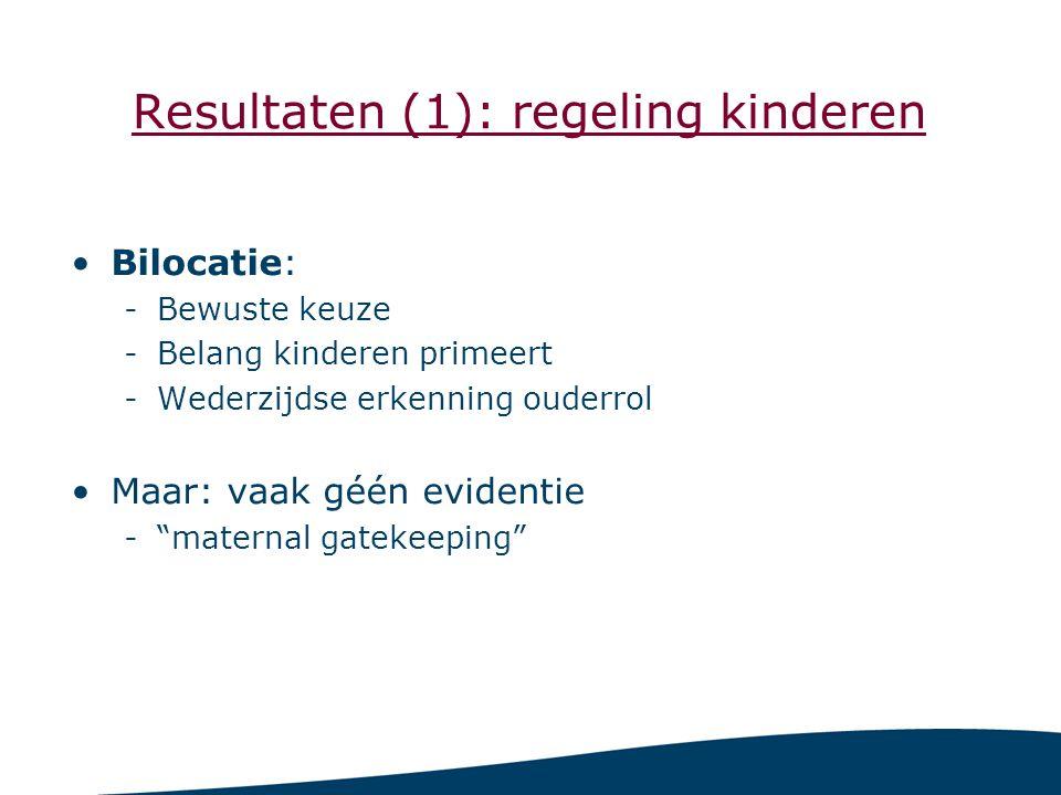 Resultaten (1): regeling kinderen Bilocatie: -Bewuste keuze -Belang kinderen primeert -Wederzijdse erkenning ouderrol Maar: vaak géén evidentie - maternal gatekeeping