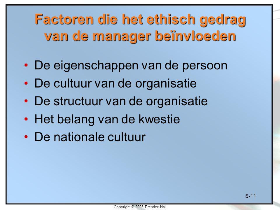 5-11 Copyright © 2005 Prentice-Hall Factoren die het ethisch gedrag van de manager beïnvloeden De eigenschappen van de persoon De cultuur van de organisatie De structuur van de organisatie Het belang van de kwestie De nationale cultuur