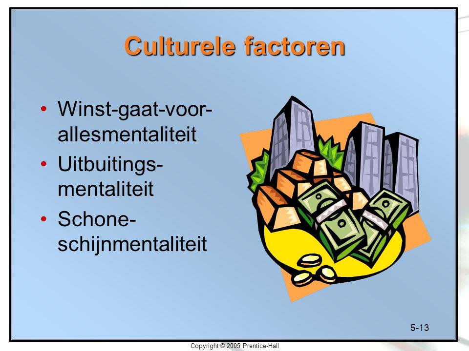 5-13 Copyright © 2005 Prentice-Hall Culturele factoren Winst-gaat-voor- allesmentaliteit Uitbuitings- mentaliteit Schone- schijnmentaliteit