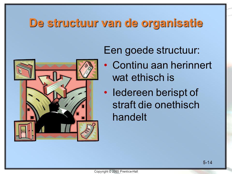 5-14 Copyright © 2005 Prentice-Hall De structuur van de organisatie Een goede structuur: Continu aan herinnert wat ethisch is Iedereen berispt of straft die onethisch handelt