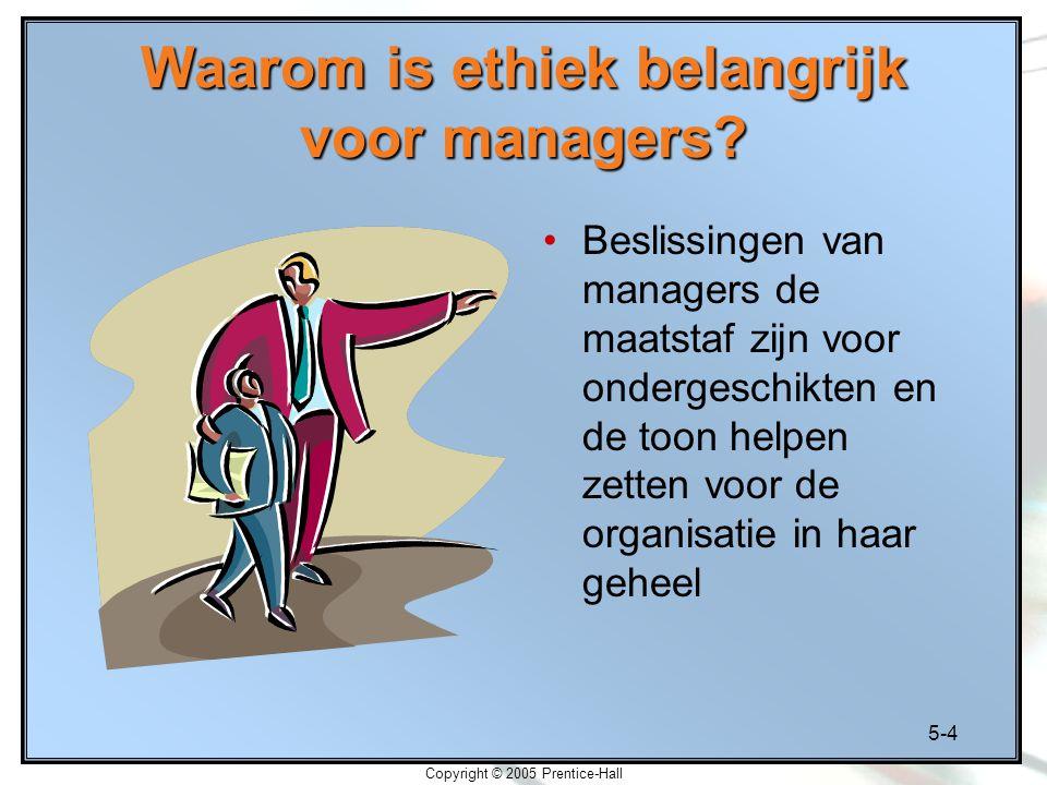 5-4 Copyright © 2005 Prentice-Hall Waarom is ethiek belangrijk voor managers.
