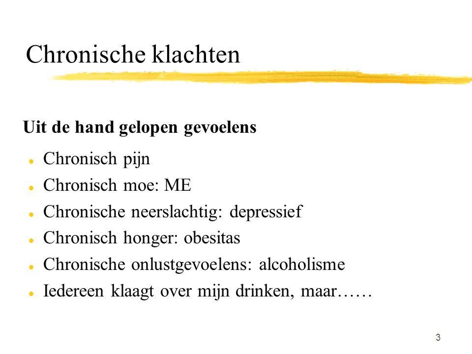 3 Chronische klachten Uit de hand gelopen gevoelens l Chronisch pijn l Chronisch moe: ME l Chronische neerslachtig: depressief l Chronisch honger: obe