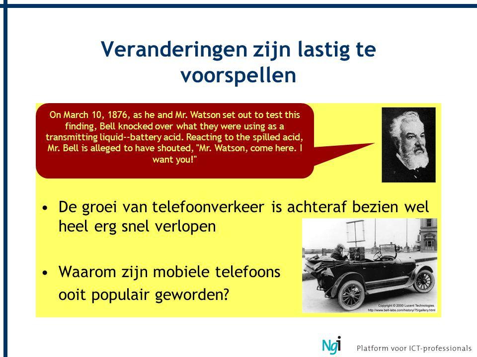 De uitvinding van telefonie was een bedrijfsongeval De groei van telefoonverkeer is achteraf bezien wel heel erg snel verlopen Waarom zijn mobiele tel