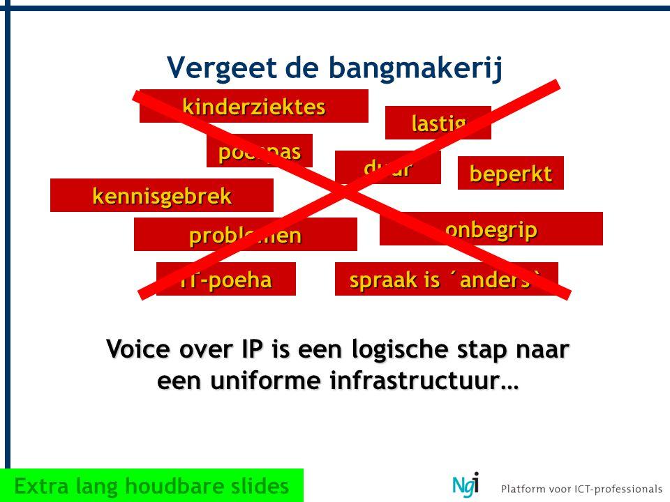 problemen duur kinderziektes beperkt lastig onbegrip kennisgebrek poespas IT-poeha spraak is ´anders` Vergeet de bangmakerij Voice over IP is een logi