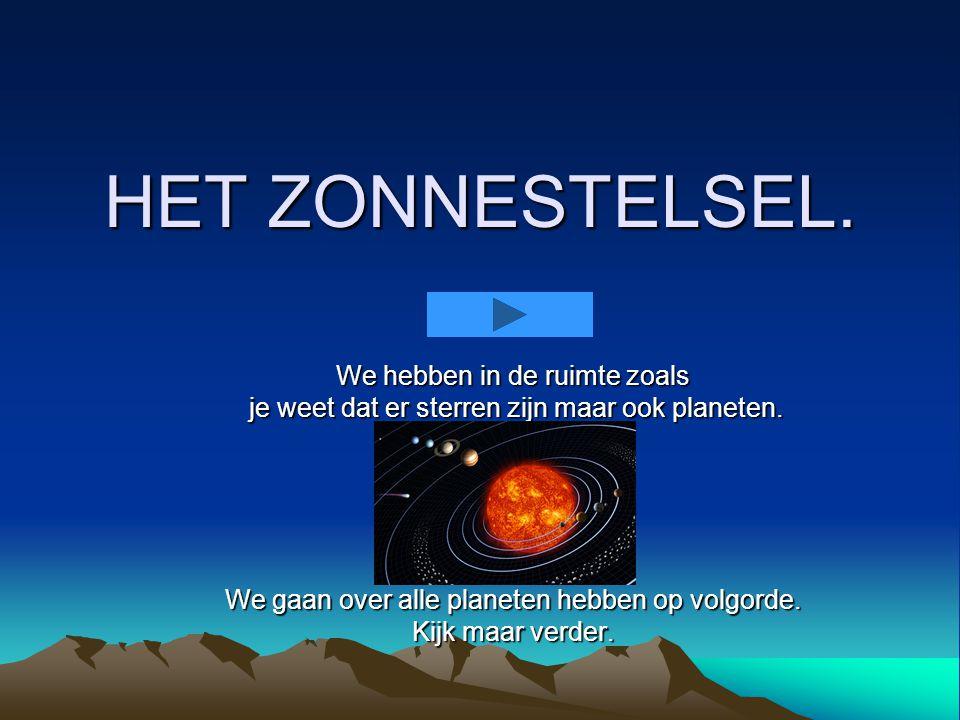 HET ZONNESTELSEL.We hebben in de ruimte zoals je weet dat er sterren zijn maar ook planeten.
