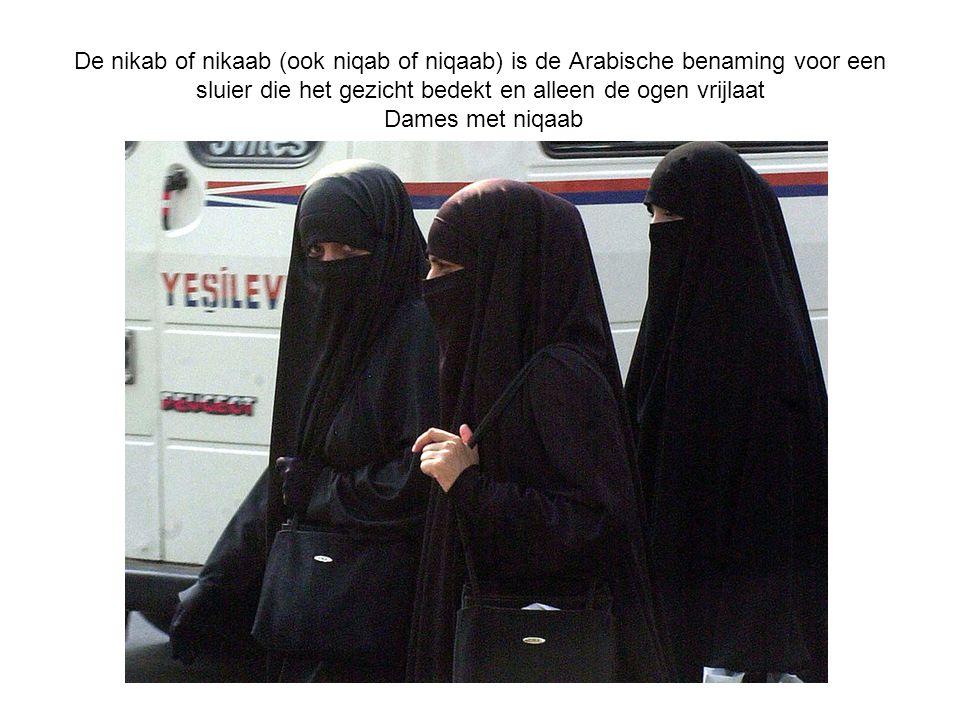 De nikab of nikaab (ook niqab of niqaab) is de Arabische benaming voor een sluier die het gezicht bedekt en alleen de ogen vrijlaat Dames met niqaab