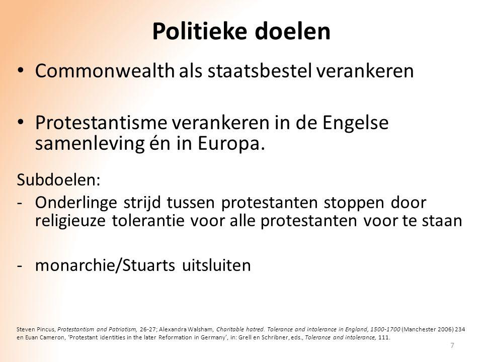 Politieke doelen Commonwealth als staatsbestel verankeren Protestantisme verankeren in de Engelse samenleving én in Europa. Subdoelen: -Onderlinge str