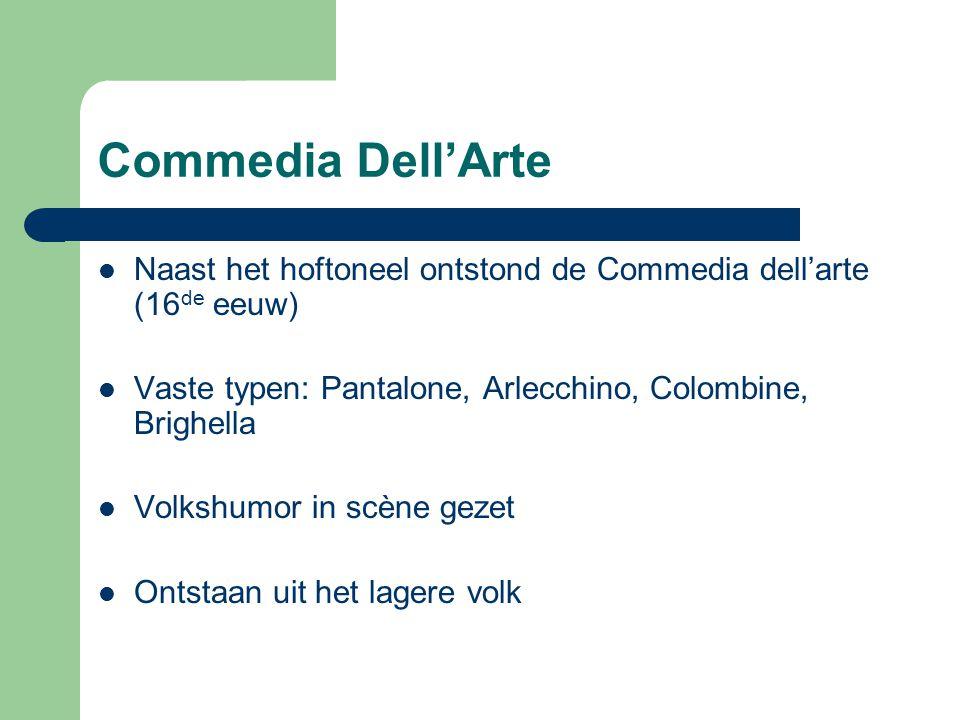 Commedia Dell'Arte Naast het hoftoneel ontstond de Commedia dell'arte (16 de eeuw) Vaste typen: Pantalone, Arlecchino, Colombine, Brighella Volkshumor