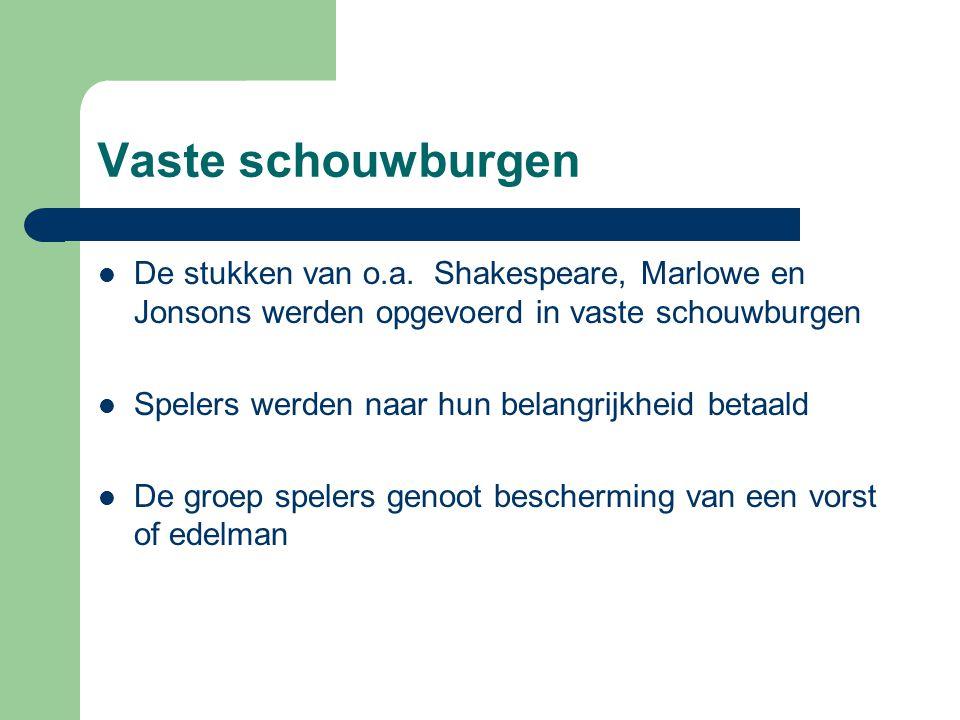 Vaste schouwburgen De stukken van o.a. Shakespeare, Marlowe en Jonsons werden opgevoerd in vaste schouwburgen Spelers werden naar hun belangrijkheid b