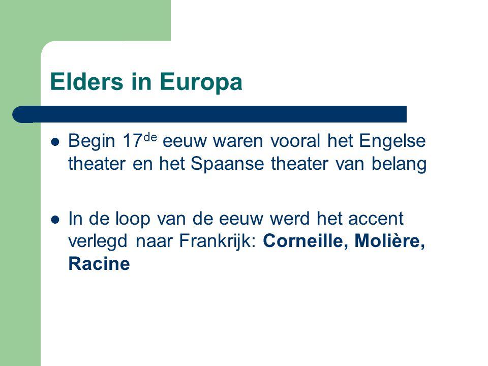 Elders in Europa Begin 17 de eeuw waren vooral het Engelse theater en het Spaanse theater van belang In de loop van de eeuw werd het accent verlegd na