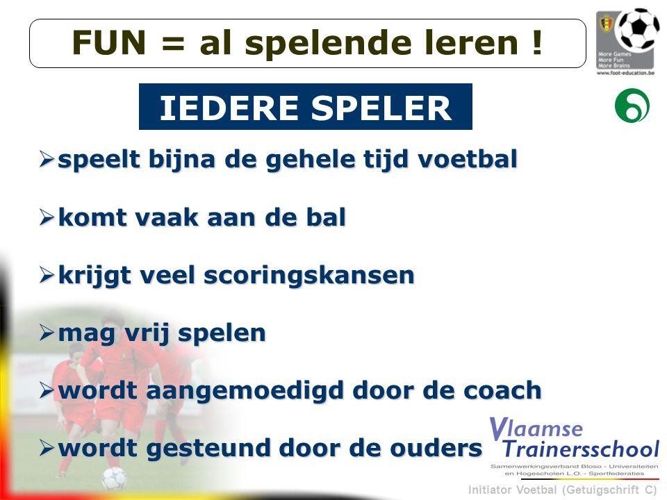 Initiator Voetbal (Getuigschrift C)  speelt bijna de gehele tijd voetbal  komt vaak aan de bal  krijgt veel scoringskansen  mag vrij spelen  word