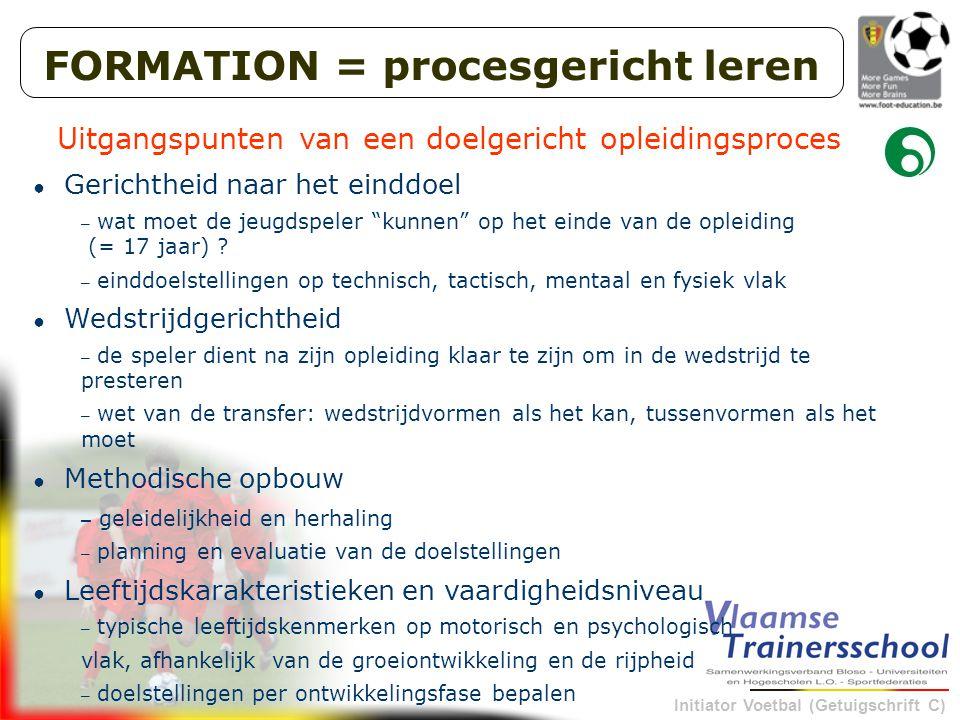 Initiator Voetbal (Getuigschrift C) FORMATION = procesgericht leren Uitgangspunten van een doelgericht opleidingsproces ● Gerichtheid naar het einddoe