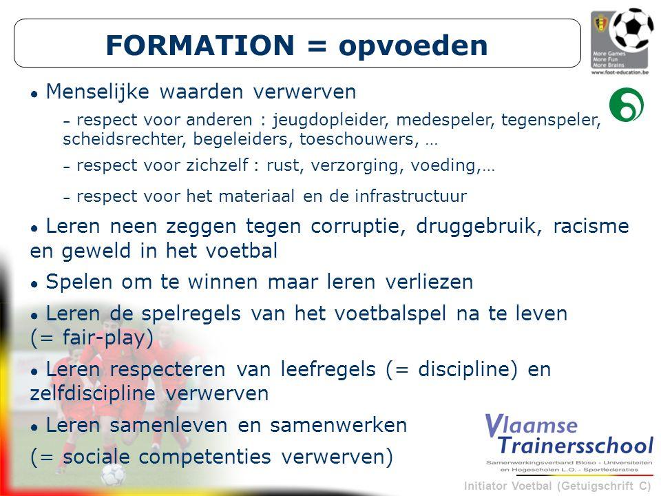 Initiator Voetbal (Getuigschrift C) FORMATION = opvoeden ● Menselijke waarden verwerven – respect voor anderen : jeugdopleider, medespeler, tegenspele