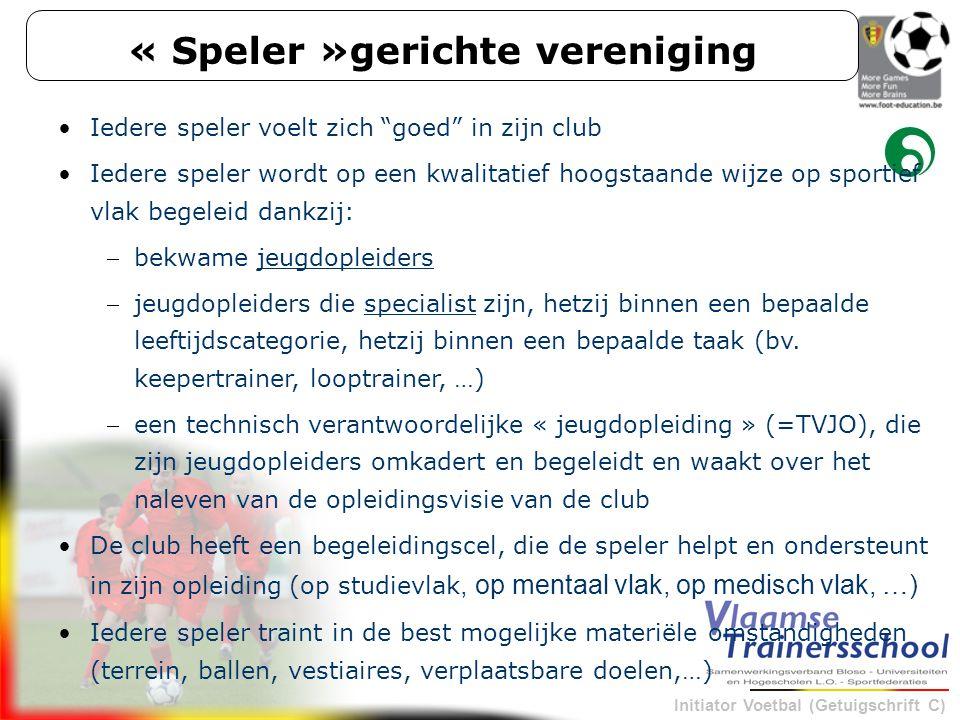 """Initiator Voetbal (Getuigschrift C) « Speler »gerichte vereniging Iedere speler voelt zich """"goed"""" in zijn club Iedere speler wordt op een kwalitatief"""