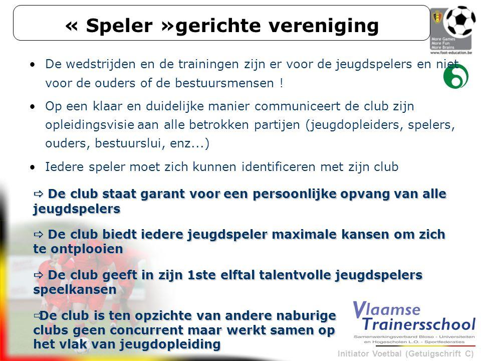 Initiator Voetbal (Getuigschrift C) « Speler »gerichte vereniging De wedstrijden en de trainingen zijn er voor de jeugdspelers en niet voor de ouders