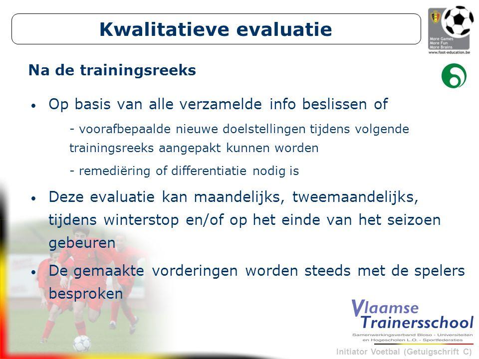Initiator Voetbal (Getuigschrift C) Kwalitatieve evaluatie Op basis van alle verzamelde info beslissen of - voorafbepaalde nieuwe doelstellingen tijde