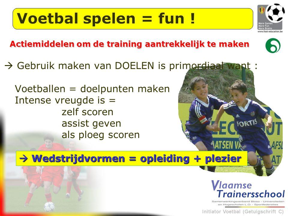 Initiator Voetbal (Getuigschrift C) Voetbal spelen = fun !  Gebruik maken van DOELEN is primordiaal want : Voetballen = doelpunten maken Intense vreu