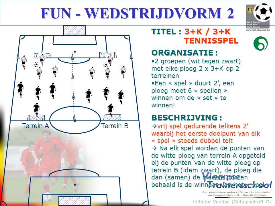Initiator Voetbal (Getuigschrift C) FUN - WEDSTRIJDVORM 2 BESCHRIJVING :  vrij spel gedurende telkens 2' waarbij het eerste doelpunt van elk « spel »