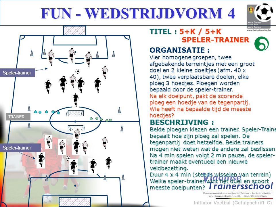 Initiator Voetbal (Getuigschrift C) FUN - WEDSTRIJDVORM 4 BESCHRIJVING : Beide ploegen kiezen een trainer. Speler-Trainer bepaalt hoe zijn ploeg zal s
