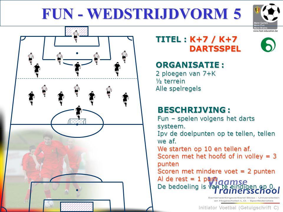 Initiator Voetbal (Getuigschrift C) FUN - WEDSTRIJDVORM 5 BESCHRIJVING : Fun – spelen volgens het darts systeem. Ipv de doelpunten op te tellen, telle