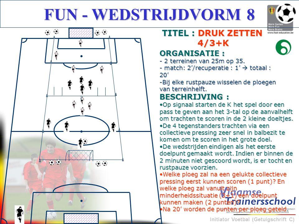 Initiator Voetbal (Getuigschrift C) FUN - WEDSTRIJDVORM 8 BESCHRIJVING : Op signaal starten de K het spel door een pass te geven aan het 3-tal op de a
