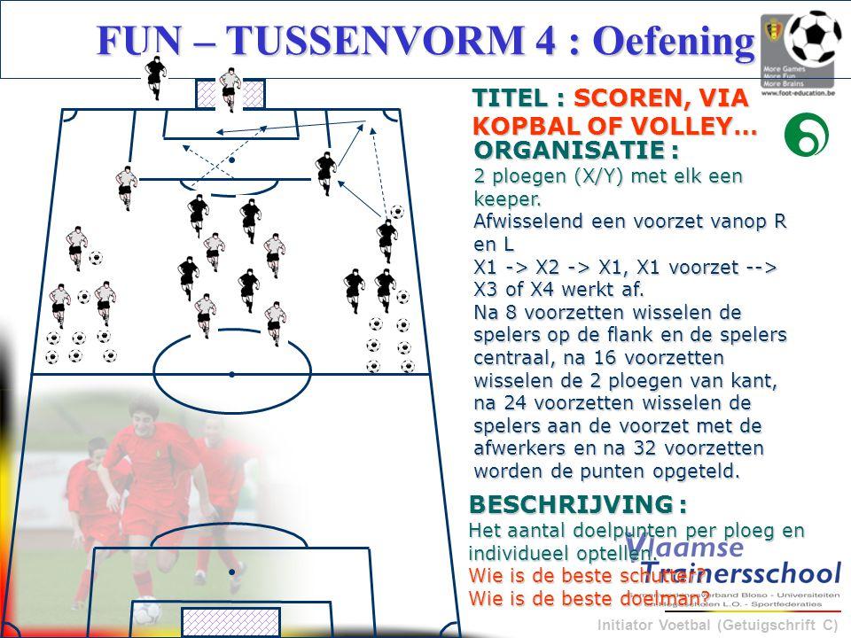 Initiator Voetbal (Getuigschrift C) BESCHRIJVING : Het aantal doelpunten per ploeg en individueel optellen. Wie is de beste schutter? Wie is de beste