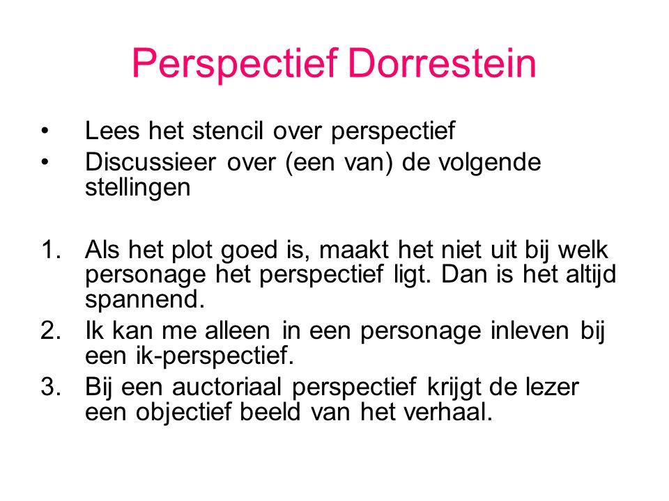 Perspectief Dorrestein Lees het stencil over perspectief Discussieer over (een van) de volgende stellingen 1.Als het plot goed is, maakt het niet uit