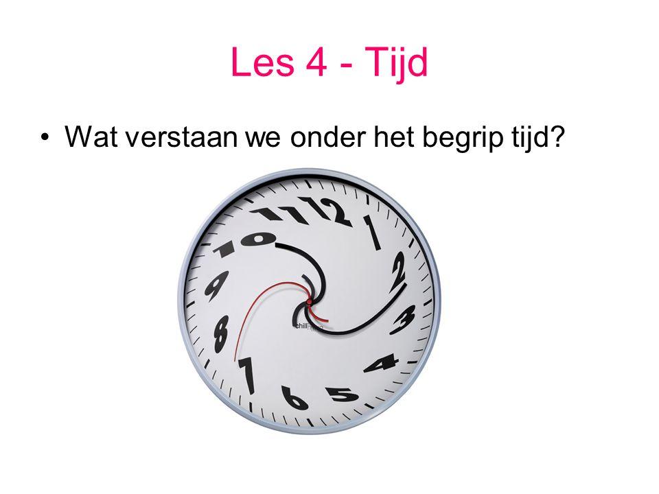 Les 4 - Tijd Wat verstaan we onder het begrip tijd?