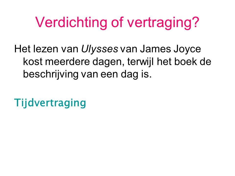 Verdichting of vertraging? Het lezen van Ulysses van James Joyce kost meerdere dagen, terwijl het boek de beschrijving van een dag is. Tijdvertraging