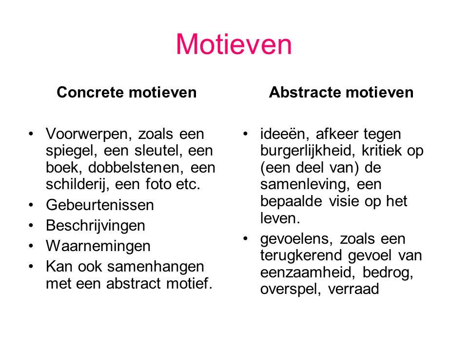 Motieven Concrete motieven Voorwerpen, zoals een spiegel, een sleutel, een boek, dobbelstenen, een schilderij, een foto etc. Gebeurtenissen Beschrijvi