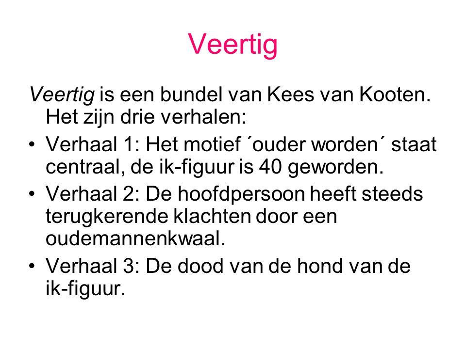 Veertig Veertig is een bundel van Kees van Kooten. Het zijn drie verhalen: Verhaal 1: Het motief ´ouder worden´ staat centraal, de ik-figuur is 40 gew