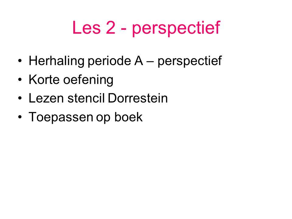 Les 2 - perspectief Herhaling periode A – perspectief Korte oefening Lezen stencil Dorrestein Toepassen op boek