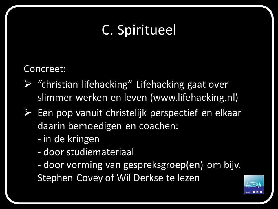 """C. Spiritueel Concreet:  """"christian lifehacking"""" Lifehacking gaat over slimmer werken en leven (www.lifehacking.nl)  Een pop vanuit christelijk pers"""