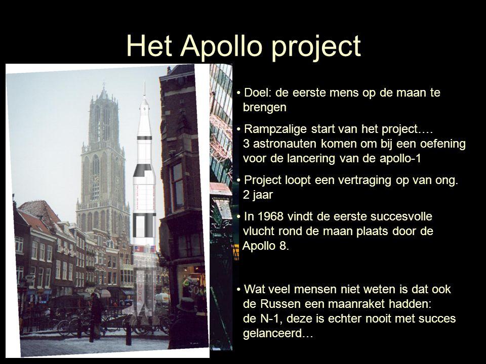 Het Apollo project Doel: de eerste mens op de maan te brengen Rampzalige start van het project…. 3 astronauten komen om bij een oefening voor de lance