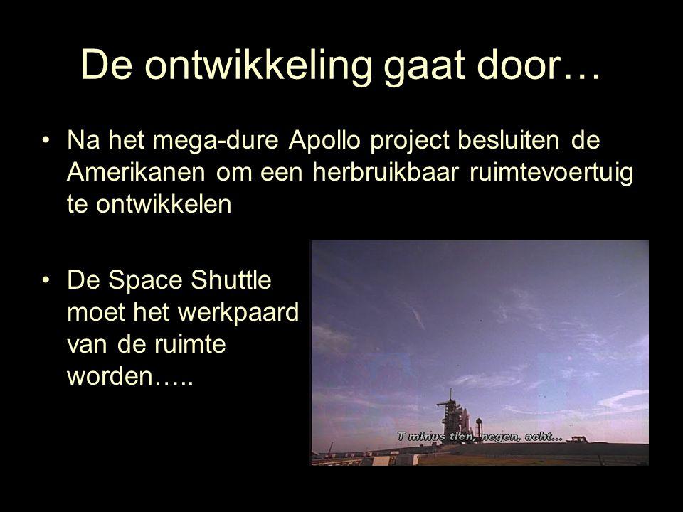 De ontwikkeling gaat door… Na het mega-dure Apollo project besluiten de Amerikanen om een herbruikbaar ruimtevoertuig te ontwikkelen De Space Shuttle