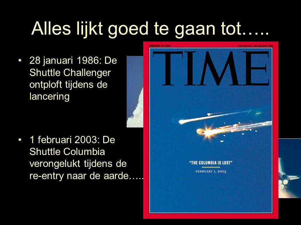 Alles lijkt goed te gaan tot….. 28 januari 1986: De Shuttle Challenger ontploft tijdens de lancering 1 februari 2003: De Shuttle Columbia verongelukt
