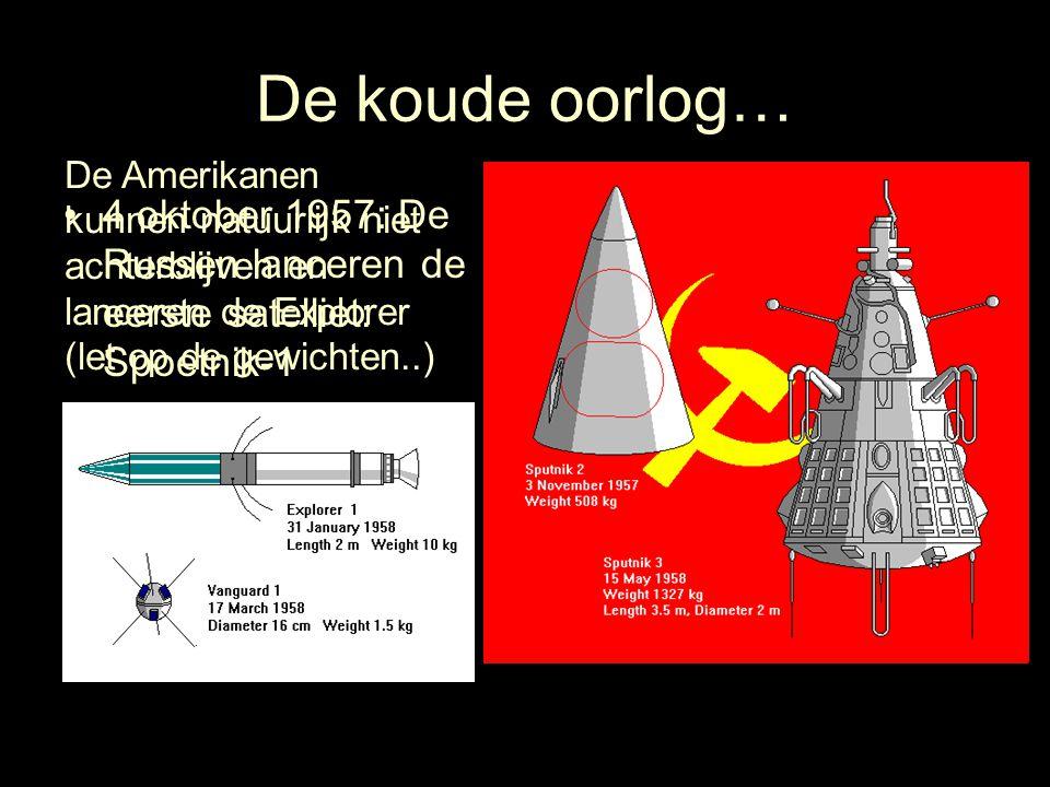 De koude oorlog… 4 oktober 1957: De Russen lanceren de eerste satelliet: Spoetnik-1 Nog geen maand later wordt de Spoetnik-2 gelanceerd met aan boord