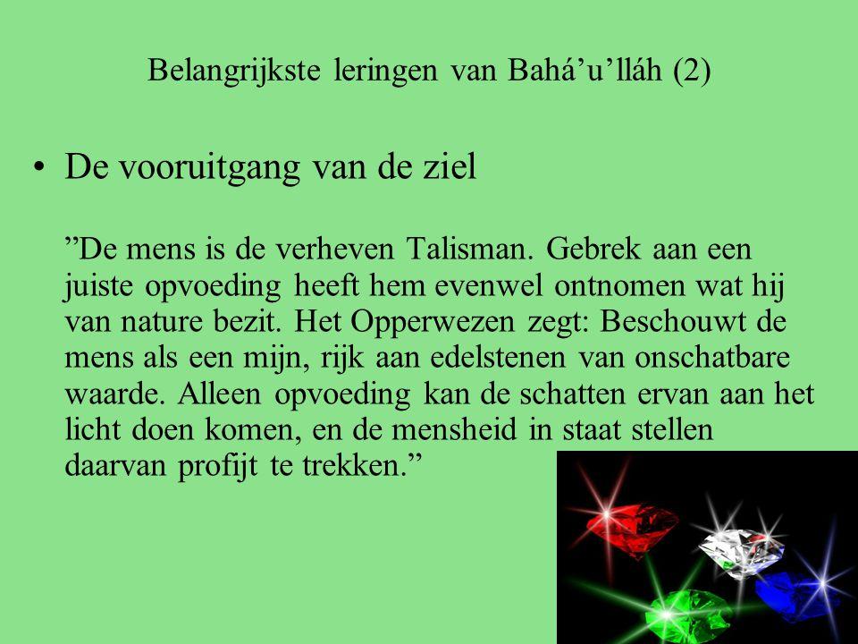 Belangrijkste leringen van Bahá'u'lláh (2) De vooruitgang van de ziel De mens is de verheven Talisman.