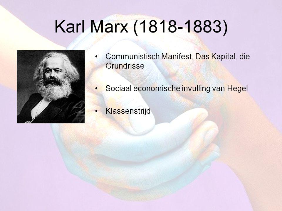 Karl Marx (1818-1883) Communistisch Manifest, Das Kapital, die Grundrisse Sociaal economische invulling van Hegel Klassenstrijd